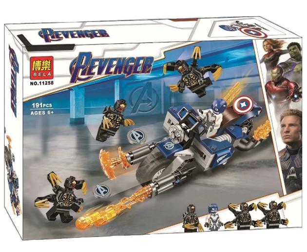 "Конструктор Bela 11258 Super Heroes ""Капитан Америка: Атака Аутрайдеров"", 191 деталей. Аналог Lego 76123"
