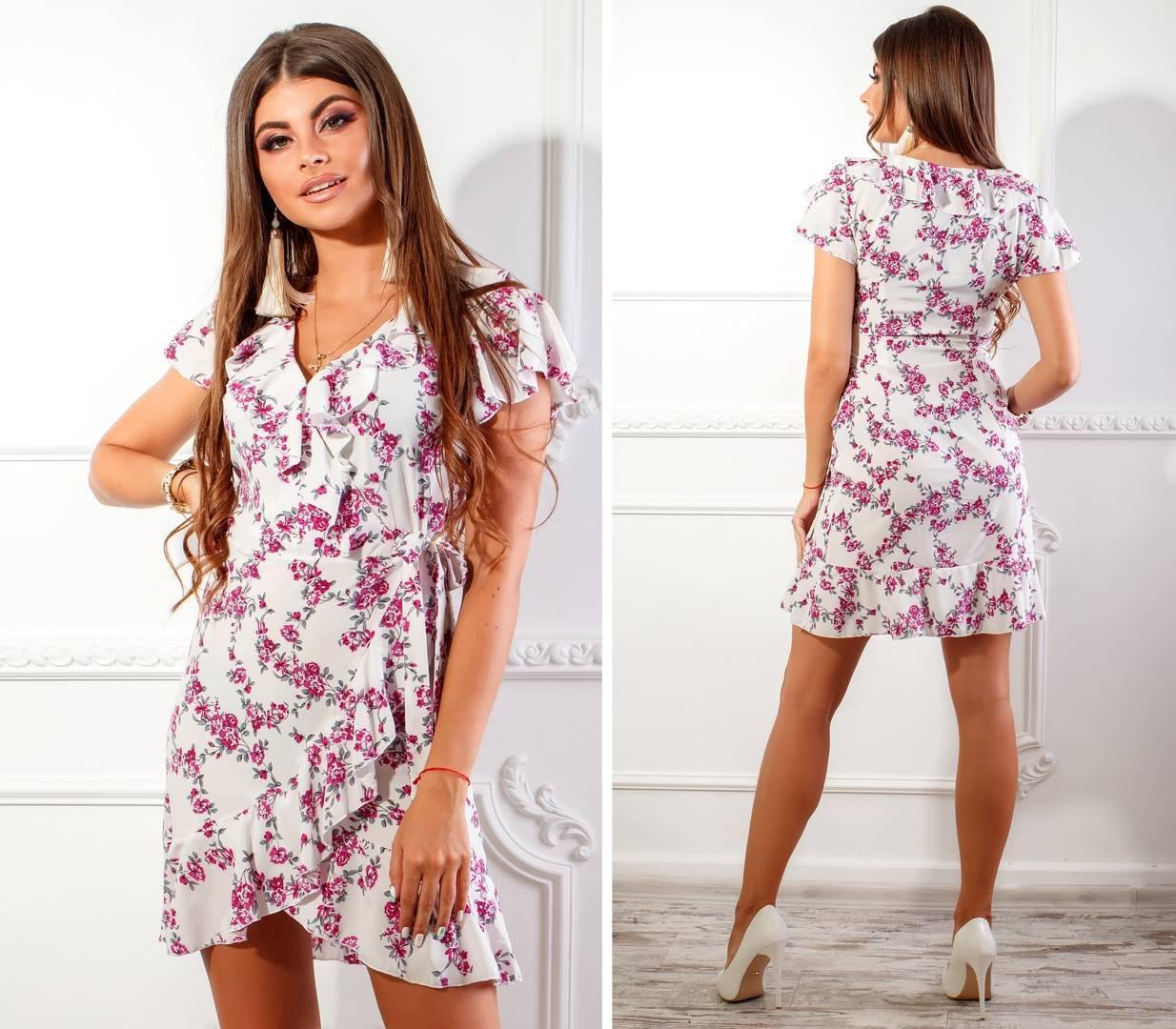 Платье на запах, арт. 115, розовая веточка на белом