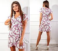 Платье на запах, арт. 115, розовая веточка на белом, фото 1