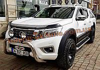 Кенгур 70D низкий Nissan Navara 2015+ Защита переднего бампера кенгурятник низкий хром на Ниссан Навара 2015+