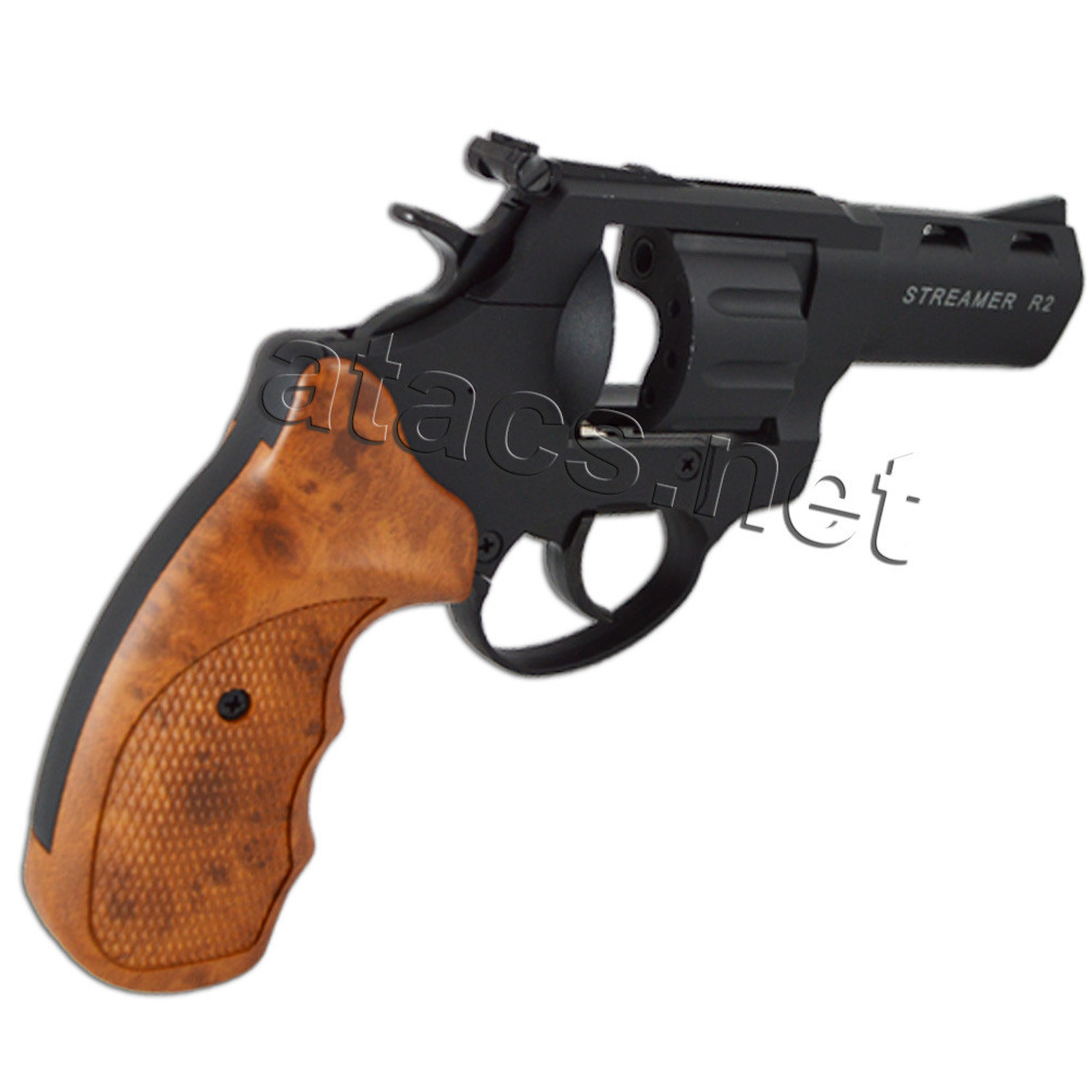 Револьвер під патрон Флобера Streamer R2 black чорний пластик під дерево