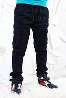УТЕПЛЁННЫЕ,синие,Котоновые брюки с накладными карманами на флисе для мальчиков.Размеры 134-152 см.Фирма S&D, фото 1