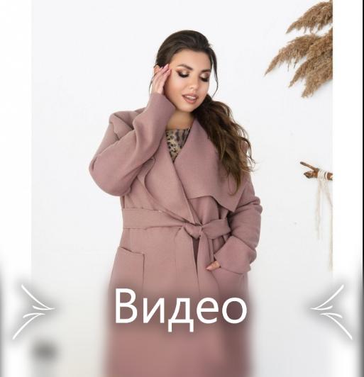 Пальто из плотной, тёплой и мягкой ткани №1708-лиловый