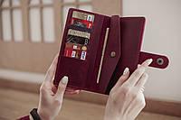 Большой вместительный женский кожаный кошелек Milana_марсала, подарок жене, подарок женщине.