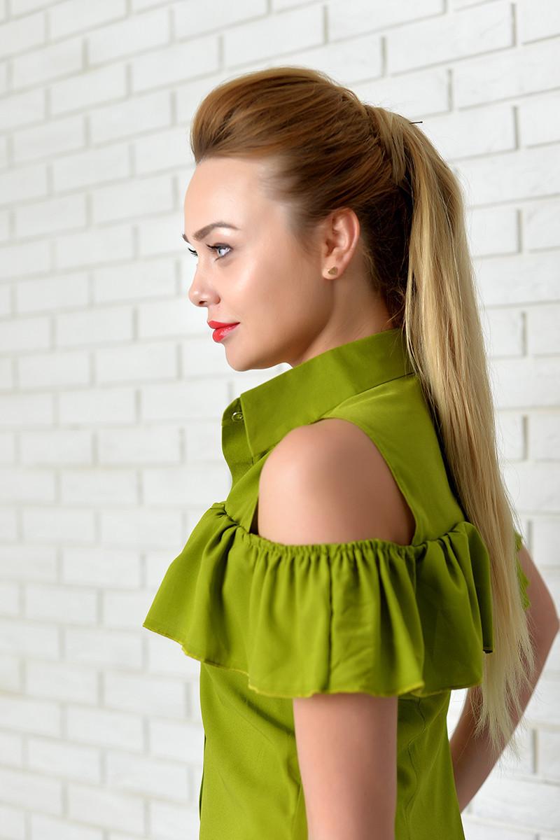 Нарядна Блузка арт. 905 з рюшем зелена