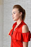 Нарядна Блузка арт. 905 з рюшем червоний, фото 1
