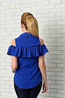 Блузка нарядная арт. 905 с рюшем электрик, фото 1