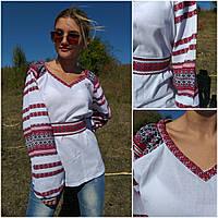 Хлопковая вышитая блуза для женщин с вышитым пояском, 48-50 р-ры, 550/450