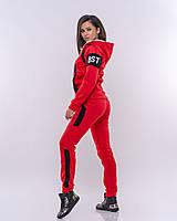 Красный спортивный женский  костюм с начесом, фото 1