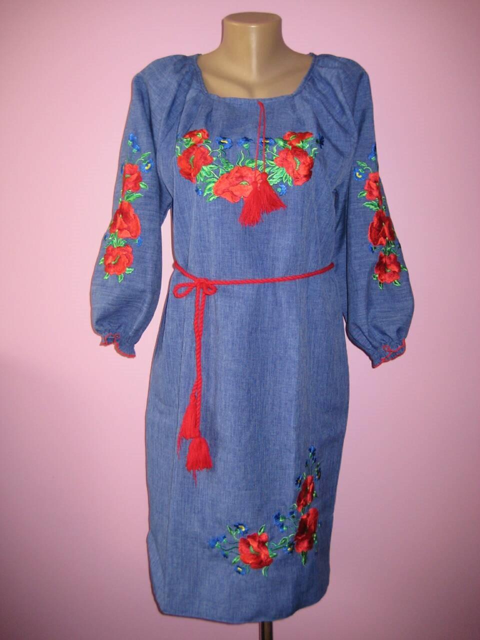 Женское платье с вышивкой (джинс), 46-52 р-ры, 500/570 (цена за 1 шт. + 70 гр.)