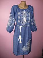 Женское платье с вышивкой (джинс), 46-56 р-ры, 500/570 (цена за 1 шт. + 70 гр.)