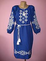 Женское платье с вышивкой (электрик), 46-52 р-ры, 500/570 (цена за 1 шт. + 70 гр.)