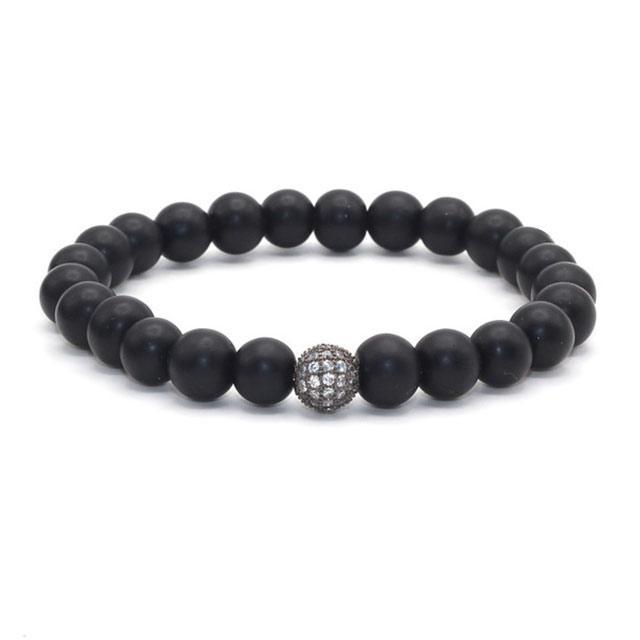 Мужской браслет - Яркий шар (Черный с серым)
