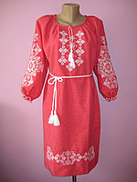 Женское платье с вышивкой (красное), 46-52 р-ры, 500/570 (цена за 1 шт. + 70 гр.)