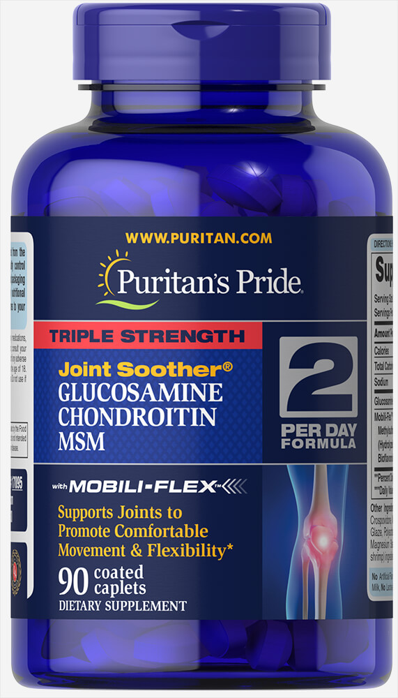 Для суставов Triple Strength Glucosamine, Chondroitin Msm Puritan's Pride 90 капсул США