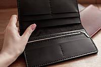 Кожаное портмоне-клатч, большой вместительный мужской кошелек из натуральной кожи_черный