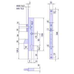 Cisa 1.16215.25.0 врізний електромеханічний замок з викидним ригелем