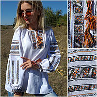 """Нарядная женская блузка с вышивкой """"Американка"""", домотканое полотно, 50-52 р-ры, 500/350"""