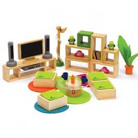 Hape игрушка из бамбука набор мебели в дом Sunshine Dollhouse