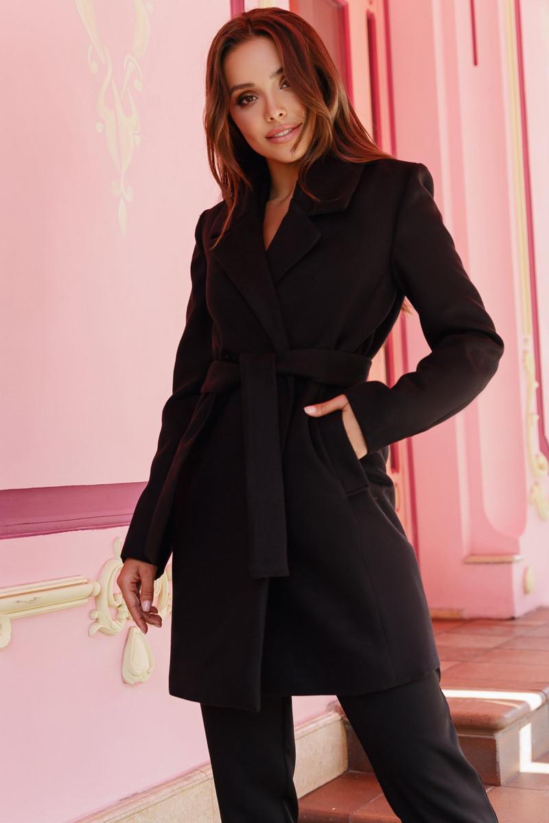 Женское двубортное пальто Черный