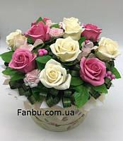 """Ароматный букет,розы из мыла """"Мыльная серенада в круглой коробке"""" №11, фото 1"""