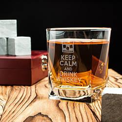 """🥃 Стакан для виски с принтом """"Keep calm and drink whiskey"""". Подарочный, с прикольной надписью"""