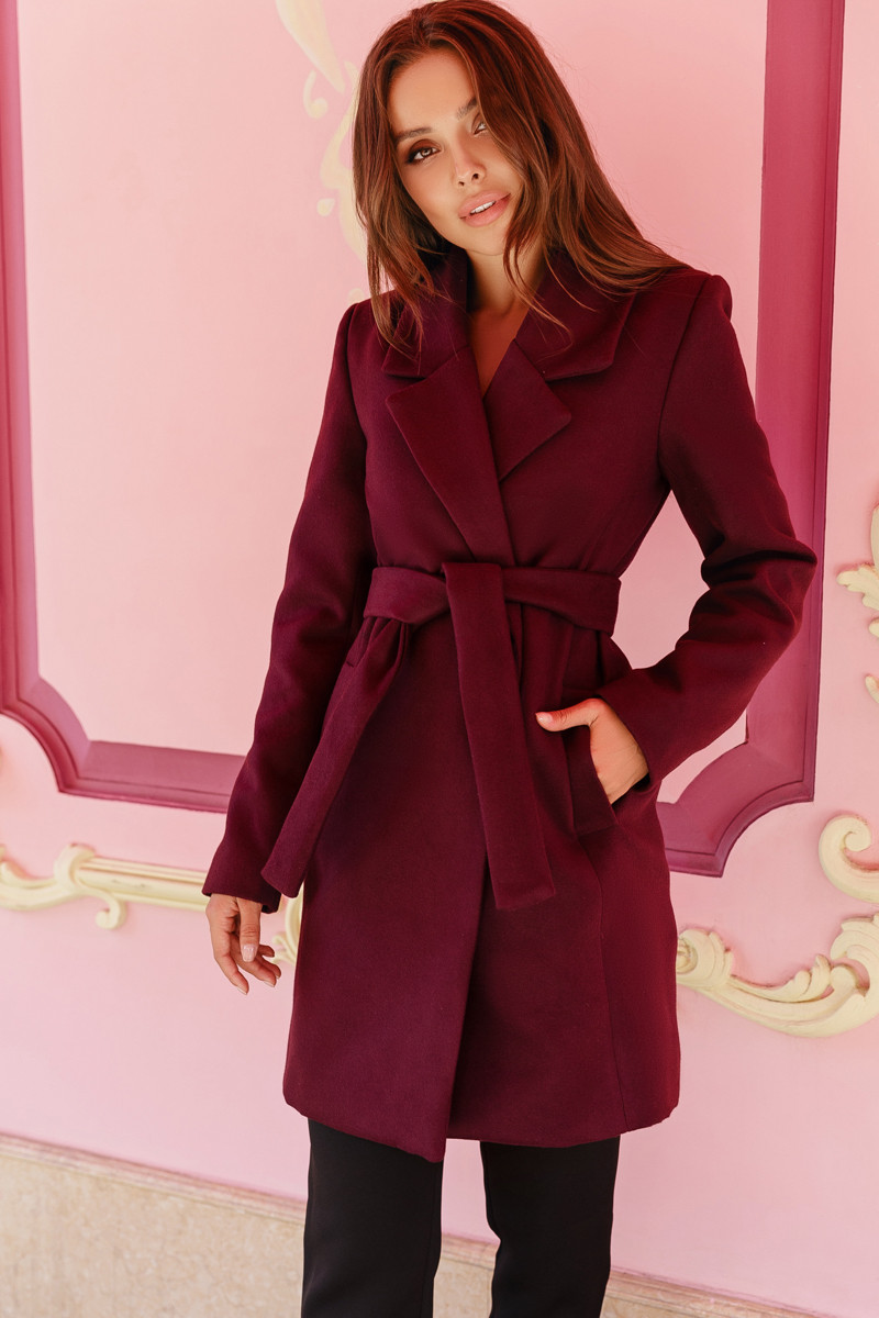 Женское двубортное пальто Марсала
