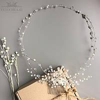 Свадебный веночек в разных оттенках с гребнем для причёски невесты, ручная работа