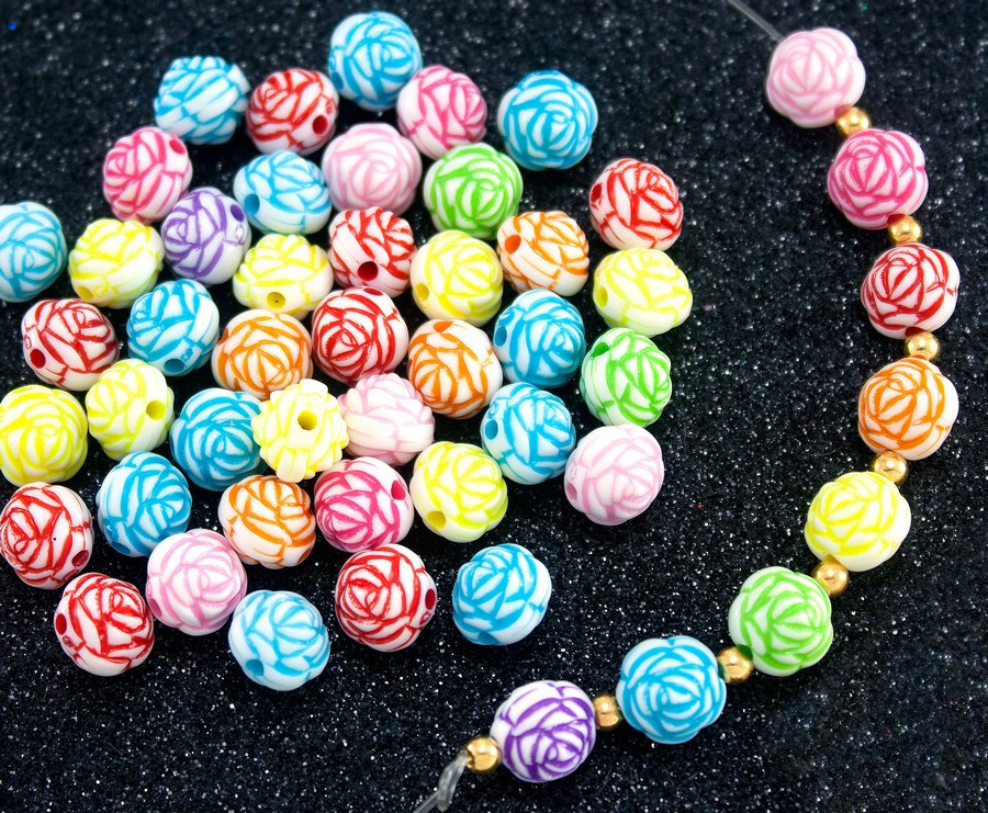"(20 грамм) Пластиковые бусины Ø11мм ""Розочки"" (прим. 32 шт) Цвета - Микс"