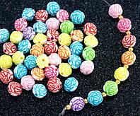 "(20 грамм) Пластиковые бусины Ø11мм ""Розочки"" (прим. 32 шт) Цвета - Микс, фото 1"