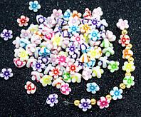 """(20 грамм) Пластиковые бусины 10х7мм """"Цветочки"""" (прим. 65 шт) Цвета - Микс, фото 1"""