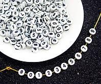 (20 грамм) Пластиковые бусины плоские с цифрами, бусины Ø7х3мм (прим. 150 шт) Цвет - на фото, фото 1