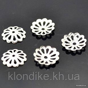 Обниматели для бусин, металл, 8 мм, Цвет: Серебро (125 шт.)