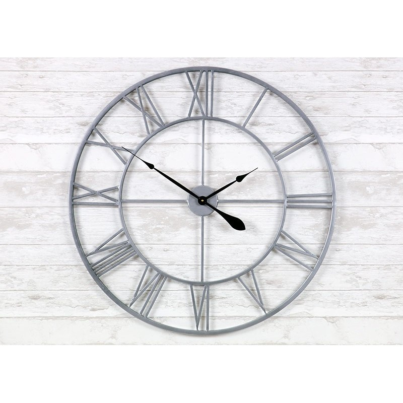 Часы настенные металлические в стиле винтаж  - Milano Silver 80 cm