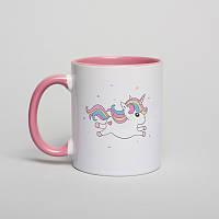 """Чашка подарочная с надписью """"Единорог"""" (розовый), 330 мл керамическая. На подарок девушке"""