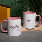 """Чашка подарочная с надписью """"Единорог"""" (розовый), 330 мл керамическая. На подарок девушке, фото 2"""