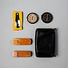 """👞 Набор для чистки обуви кожаный """"Elite"""": мягкая и жесткая щетки, салфетка + 2 крема (черный и бесцветный), фото 3"""