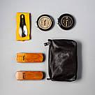 """👞 Набор для чистки обуви кожаный """"Elite"""": мягкая и жесткая щетки, салфетка + 2 крема (черный и бесцветный), фото 4"""
