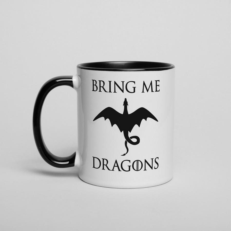 """Чашка з написом GoT """"Bring me Dragons"""", 330 мл подарункова керамічна"""