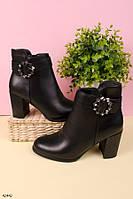 Женские осенние ботинки на каблуке 8 см черные эко-кожа, фото 1