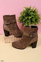 Женские осенние ботильоны коричневые на каблуке 8 см эко-замша, фото 1