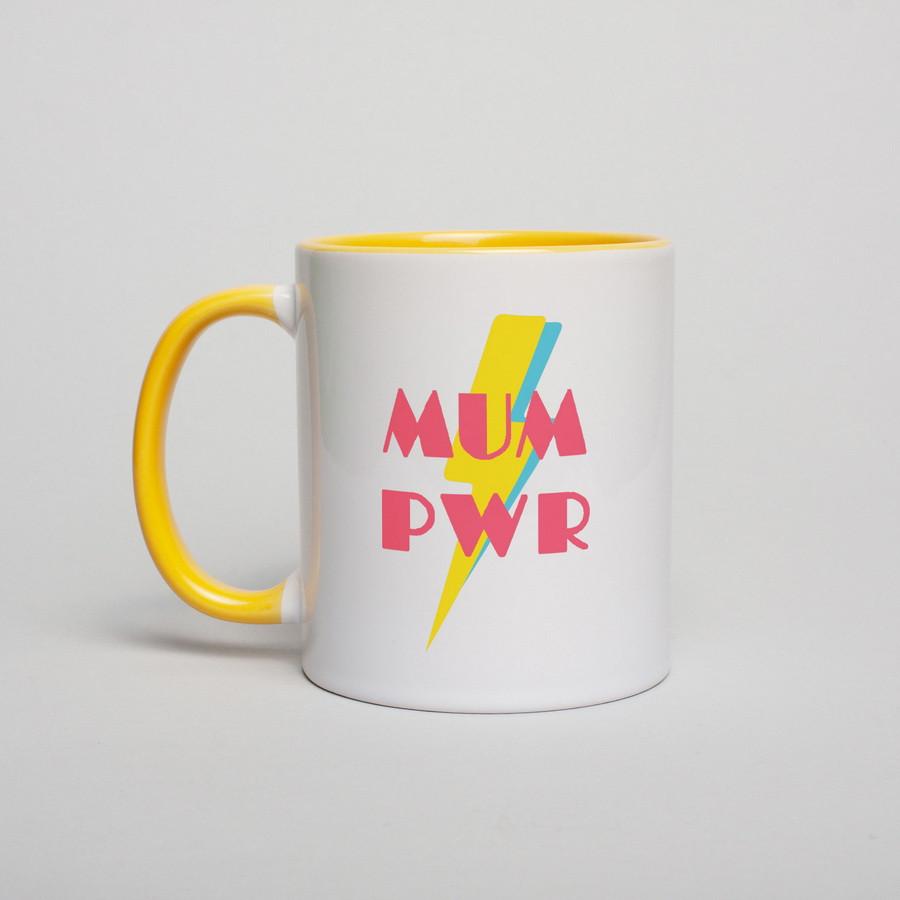 """Чашка с надписью """"МUM PWR"""", 330 мл подарочная керамическая"""