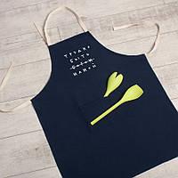 """Фартук кухонный женский с надписью """"Трудно быть мамой"""". Подарочный фартук для кухни маме или жене"""
