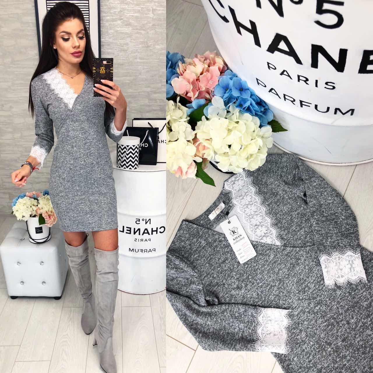 Сукня з мереживом арт. 126 сірий меланж