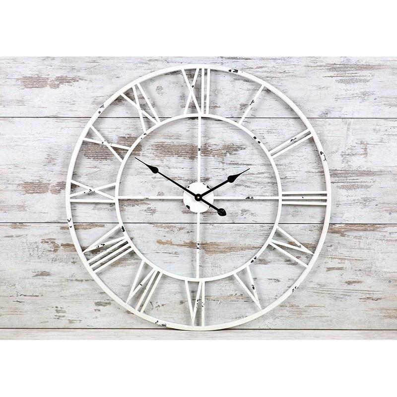 Часы настенные металлические в стиле винтаж  - Milano White 80 cm