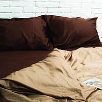 Двоспальне постільна білизна сатин SE05 шоколад/золотистий капучіно Бавовняні традиції, фото 1