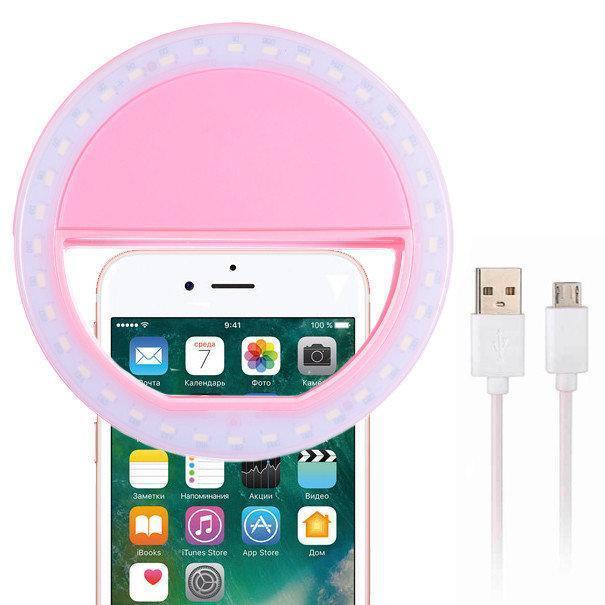 🔥 Светодиодное селфи кольцо с батарейкой Selfie Ring Light Цвета Белый, Синий