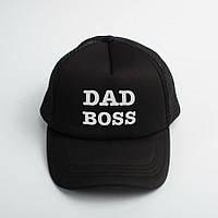 """Кепка черная с надписью """"Dad Boss"""". Мужская кепка, на подарок папе или мужу, прикольный принт"""