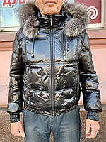 Пуховик мужской кожаный с капюшоном , мех лиса