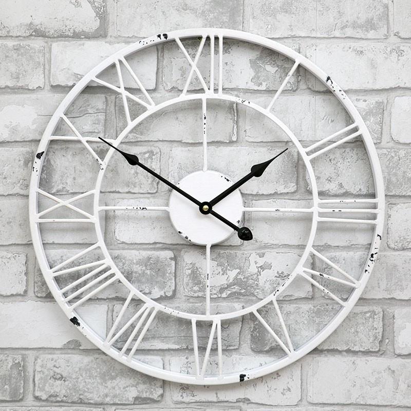 Часы настенные металлические в стиле винтаж  - Milano White 45 cm